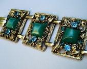 RESERVED for CorinnaVintage Selro Wide Bracelet Green Lucite Rhinestone