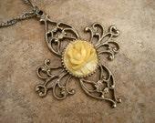 Vintage Floral Cross Pendant Necklace Celluloid Rose Openwork Silver Tone
