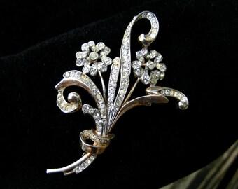 Vintage Sterling Reja Brooch Rhinestone Silver Floral