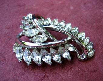 Vintage Trifari Rhinestone Brooch Modernist Silver Tone Navette Crystal