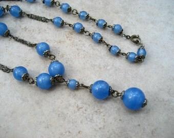 Vintage Art Deco Necklace Blue Glass Bead Silver Tone Filigree