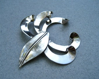 Vintage Sterling Silver Brooch Modernist Abstract Artisan