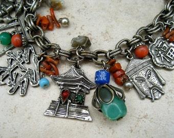 Vintage Asian Charm Bracelet Art Glass Faux Coral Rhinestone Temple