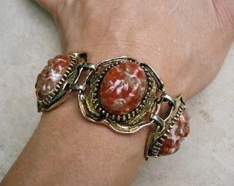 Vintage Selro Chunky Bracelet Venetian Red Lucite Oval Panels