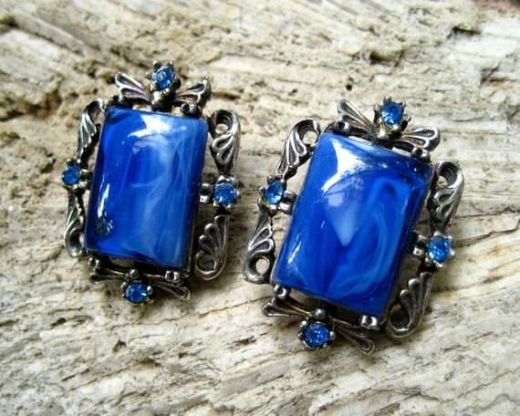 RESERVED  Vintage Art Glass Earrings Marbled Blue Rhinestone Openwork Silver Tone