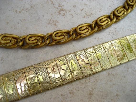 Vintage Bracelet Lot Gold Tone Etched Mesh S Chain Link