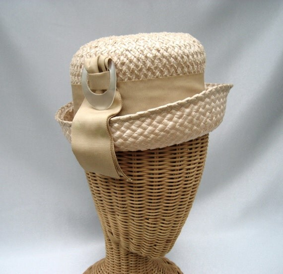 Vintage Ladies Straw Hat Celluloid Buckle Ribbon Tan