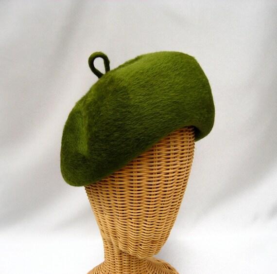 Vintage Ladies Hat Green Fur Felt  Bubble Tam Jacoll