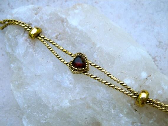 Vintage Goldette Bracelet Slide Heart Charm Red Rhinestone