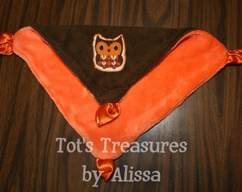 Super Soft Brown Terrycloth with Owl Applique and Orange Minky Gathered Corners Lovey...Ready to ship