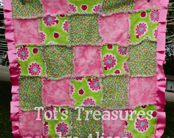 Rag Quilt Baby Girl Blanket....Flannel and Green Dot Minky...Ready to Ship