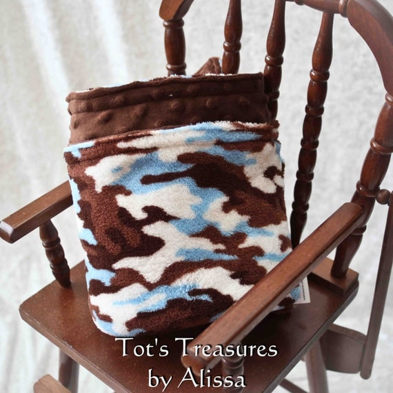 Blue Camo Baby Blanket.....Double Sided Minky.....MADE TO ORDER