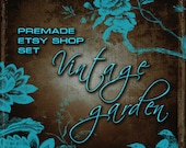 Premade Etsy Shop Banner and Avatar set,  9 pieces Vintage Garden Chocolate & Turquoise