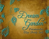 RESERVED for  Roberta Dinow  Premade Etsy Shop Banner and Avatar set DREAM GARDEN 01