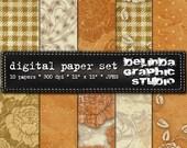 Burnt Orange Cream Olive Vintage Digital Papers for Blogging and Scrapbooking INSTANT DOWNLOAD