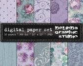 Shabby Garden Vintage Digital Papers for Blogging and Scrapbooking  INSTANT DOWNLOAD