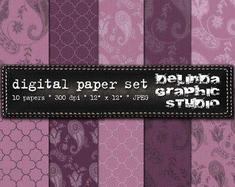 Paisley Mauve Vintage Digital Papers for Blogging and Scrapbooking  INSTANT DOWNLOAD