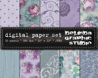 Shabby Garden Vintage Digital Papers for Blogging and Scrapbooking  INSTANT DOWNLOAD
