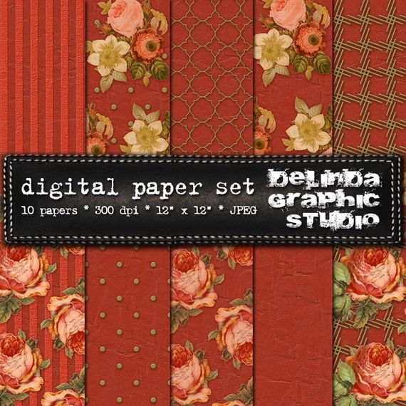 English Rose Terracotta Olive Green Digital Papers for Blogging and Scrapbooking  INSTANT DOWNLOAD
