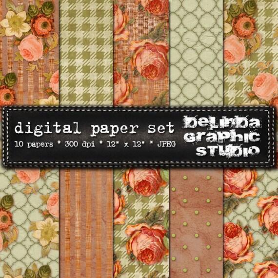 English Rose Sage Orange Olive Green Digital Papers for Blogging and Scrapbooking  INSTANT DOWNLOAD