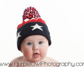 Handmade Knit Baby Hat Star Spangled Patriotic Flag Beanie USA 4th of July