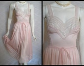 1950s Van Raalte Pink Nightgown,  34, Small, Medium, Sheer Nylon chiffon and Lace