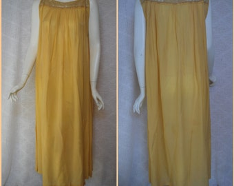 1920s Silk Chemise Nightgown Night Dress, Golden Yellow, Long hand sewn Gown, Small Medium