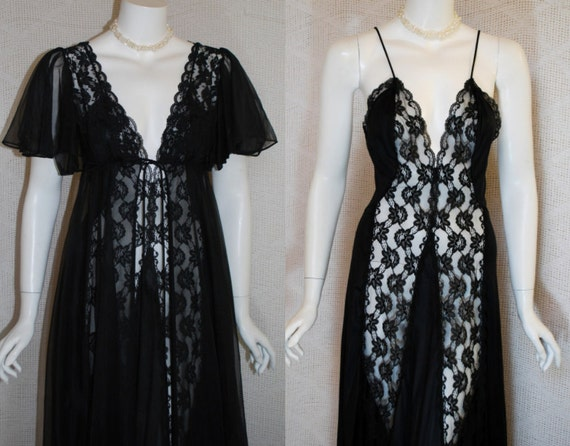 1980s Black Peignoir Set , Sexy Val Mode Nylon Lace nightgown, Chiffon Robe,  Small