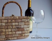 Rectangular Box Purse with Wine Cork Exterior and Bamboo Handle