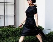 Amazing chic vintage 50's black silk damask wiggle cocktail dress