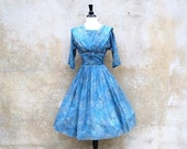 1950 lush blue Audrey dress/silk and organza pleated day dress/ 50s cocktail dress/ medium