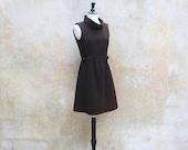 1960s MOD Twiggy dress / 60s brown wool retro vintage dress / medium
