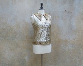 Vintage 50's sleeveless top gold sequined beaded/ 1950s party blouse/ beaded/M