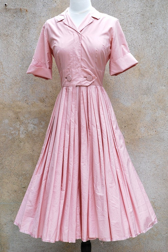 Vintage Retro 50s June Cleaver Style Pink Day Dress