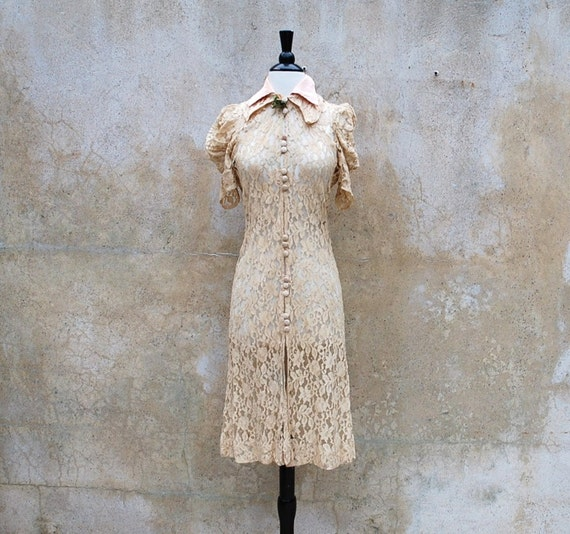 Reserved for Frenchkit Antique 1930's sheer ivory handmade lace dress/ vintage 30s party dress/ medium