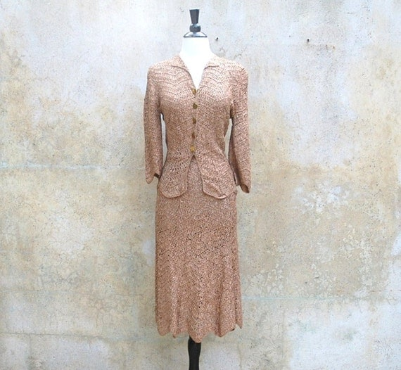 1950s Mad Men suit- ribbon suit - 50s caramel skirt and jacket -small