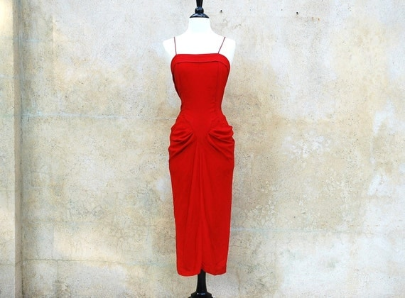 1940s / 1950s wiggle cocktail dress- red hot bombshell 40s party dress- medium