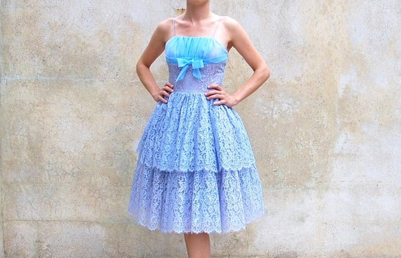 Reserve for cheryl1950s party dress - 50s cupcake prom dress - periwinkle blue lace evening-wedding - cocktail dress -  extra small - small