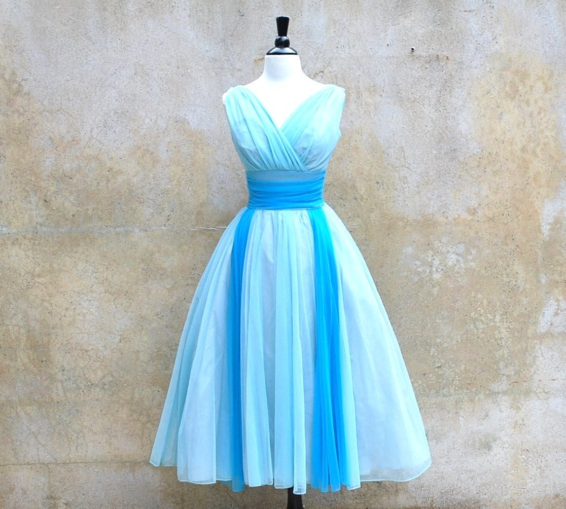 1950s Prom Dress 50s Formal Dress Baby Blue By