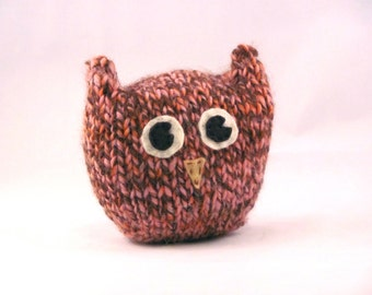 Handknit Plush Pink and Brown Soft Squishy Owl Toy