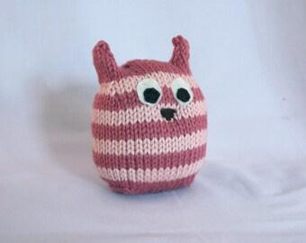 Pink Striped Handknit Stuffed Owl