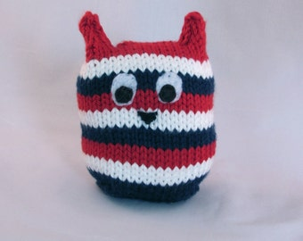 Red White and Blue Toy, Toy Owl, Stuffed Owl, Patriotic Striped Handknit Stuffed Owl