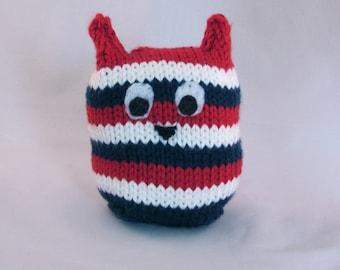 Patriotic Striped Handknit Stuffed Owl