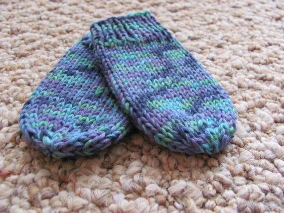 Knitted 0-6 months multicolor thumbless mittens - Girl