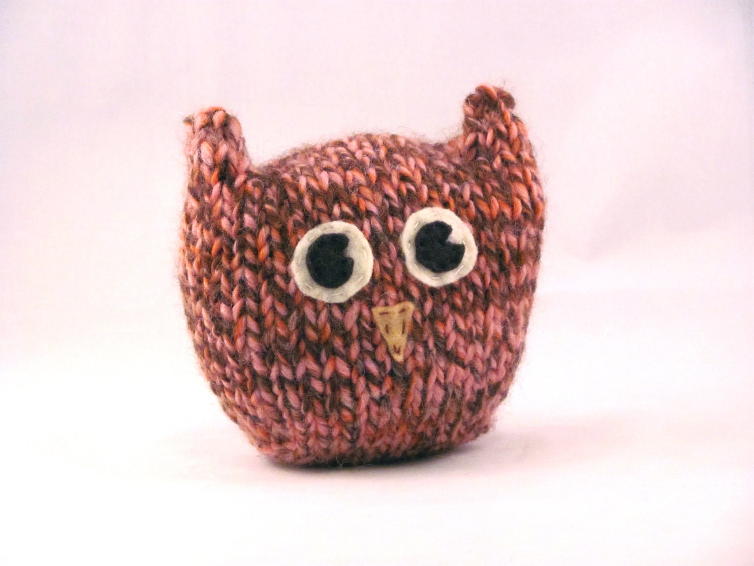 Squishy Owl : Handknit Plush Pink and Brown Soft Squishy Owl Toy