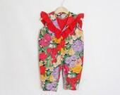 Floral Romper Suit - Vintage Rompers - Bodysuit