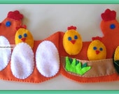 Quiet Book, Preschool HEN Felt Book, Counting Hen Book