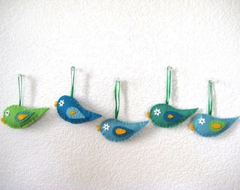 Felt Birds, Assorted House Ornaments, set of 5 pieces
