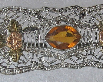 Vintage Antique White  and Rose GOLD Filigree Bar Brooch with CITRINE