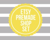etsy premade shop set  //  grey with mustard yellow